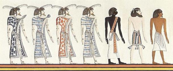 A Nubian, a Syrian, and an Egyptian, drawing by an unknown artist after a mural of the tomb of Seti I; Copy by Heinrich von Minutoli 1820. Note that the skin shades are due to the 19th century illustrator, not the Ancient Egyptian original. (Nard the Bard / Public Domain)