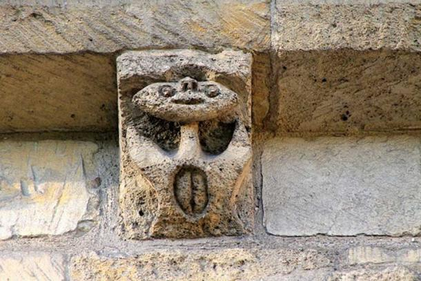 A Sheela na gig at the Château de Caen, France