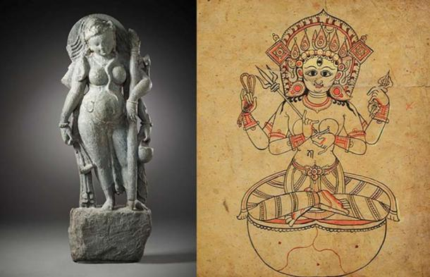A Tantric Goddess (Public Domain) and a Tantric Form of a Hindu Goddess, possibly Indrani.