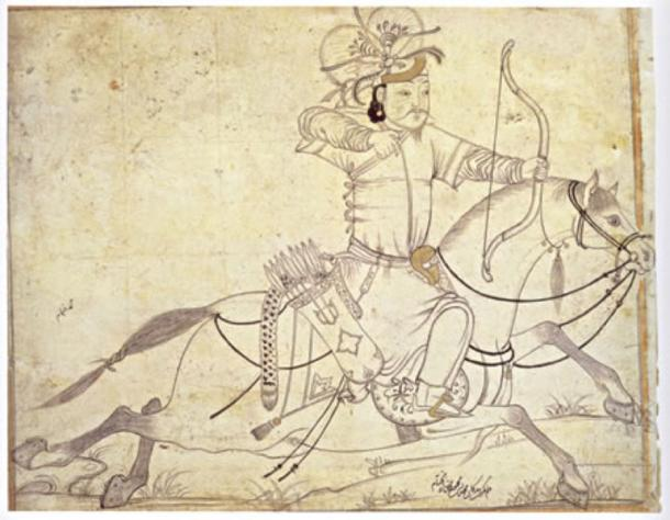 A Timurid drawing of an Ilkhanid horse archer by Muhammad ibn Mahmudshah al-Khayyam Iran, early 15th century. (Public Domain)