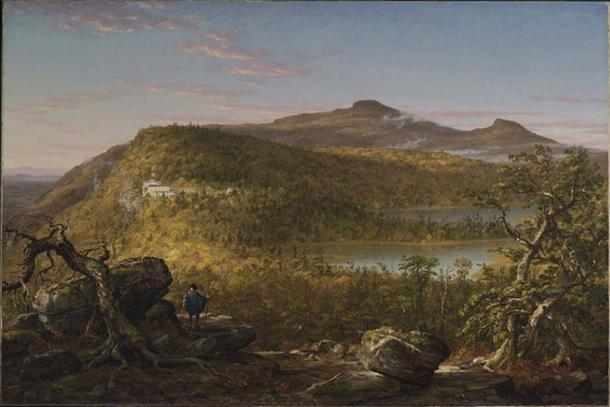 A View of the Two Lakes and Mountain House, Catskill Mountains, Morning, by Thomas Cole (1844) Brooklyn Museum of Art (Public Domain)