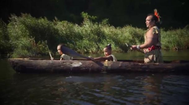 A Wampanoag dugout canoe as fashioned by modern natives (Scholastic YouTube screenshot)