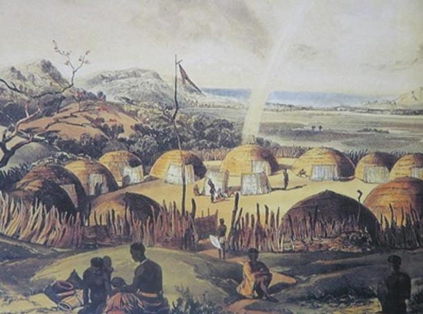 A Zulu kraal. (1849). Shaka and his mother Nandi reportedly were banished from their kraal by Shaka's father.