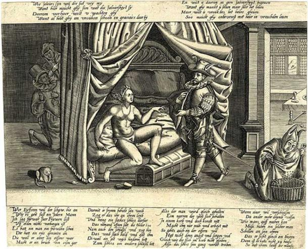 A caricature on the ultimate ineffectualness of chastity belts. (Handcuffed / Public Domain)