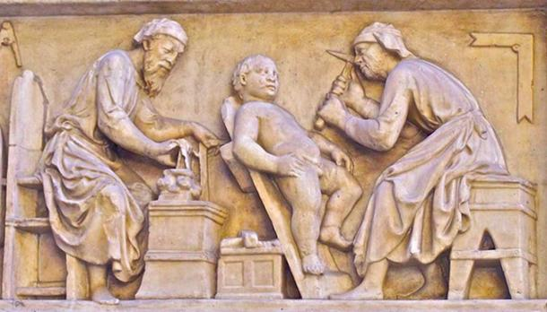 A carving in Italy, circumcision of a child. (NateBW/CC BY SA 2.0)