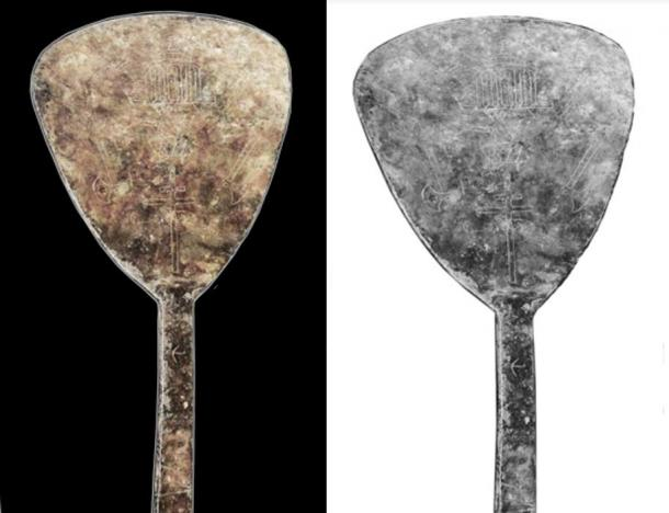 A cast lead paddle-shaped military standard with images of temples, Calalus insignia, and inscriptions mentioning 705 AD, Romans, David's Temple, and more. Catalog #94.26.13 (Image: The Tucson Artifacts. Photograph by Robert C. Hyde. © Donald N. Yates, 2013. All rights reserved. Used by special permission.)
