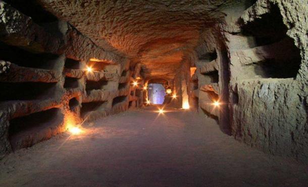 A catacomb.