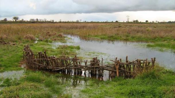 A channel with reconstructed stake, branch and weir in the Budj Bim Cultural Landscape. (Gunditj Mirring Traditional Owners)