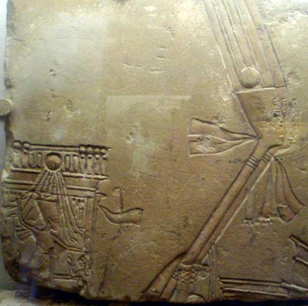 A close-up of a limestone relief shows an extraordinary representation of Queen Nefertiti smiting a female captive on a royal barge—a time-honored depiction, solely reserved for ruling kings. Museum of Fine Arts, Boston. (Photo: Captmondo/CC BY-SA 3.0)