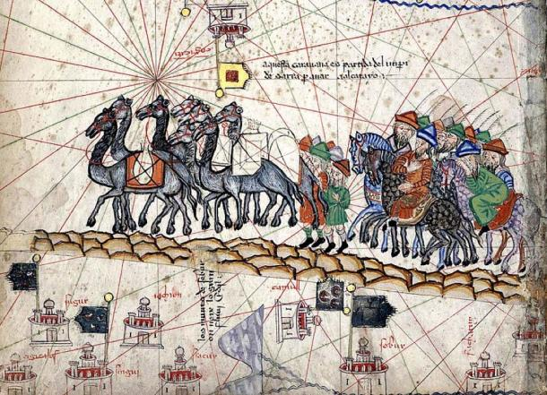 A close up of the Catalan Atlas depicting Marco Polo traveling to the East during the Pax Mongolica. (Public Domain)