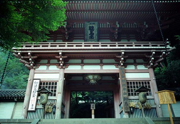 A close-up of the main gate of Kurama Temple.