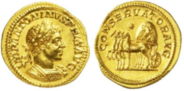 Figure 6.   A coin of Emperor Elagabalus, showing the Elagabal omphalos stone placed in a chariot. Note the stone has the emblem of the Phoenix embossed upon it, which demonstrates that this was a Sun-stone (possibly a meteorite). (Photo credit: Forum Ancient Coins.)