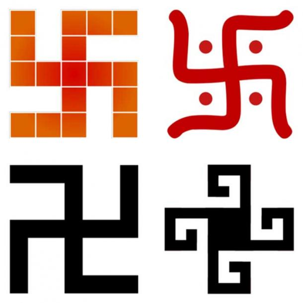 A collage of swastika styles found in four different cultures.