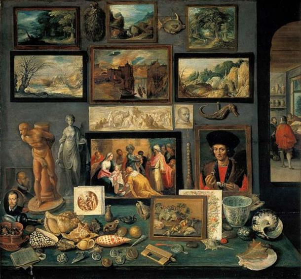 A corner of a cabinet, painted by Frans II Francken in 1636 reveals the range of connoisseurship a Baroque-era virtuoso might evince. (Public Domain)