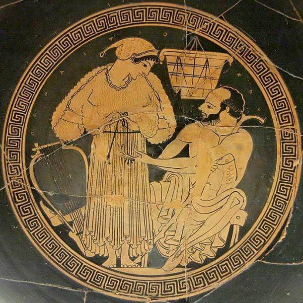 A courtesan ties up her himation (long garment) again while her middle-aged client watches. The lyre show her to be a musician called for a banquet. Interior from an Attic red-figured kylix, ca. 490. From Vulci. (Public Domain)