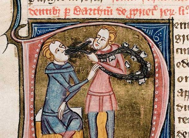 A dentist with silver forceps and a necklace of large teeth, extracting the tooth of a seated man, 1360-1375.