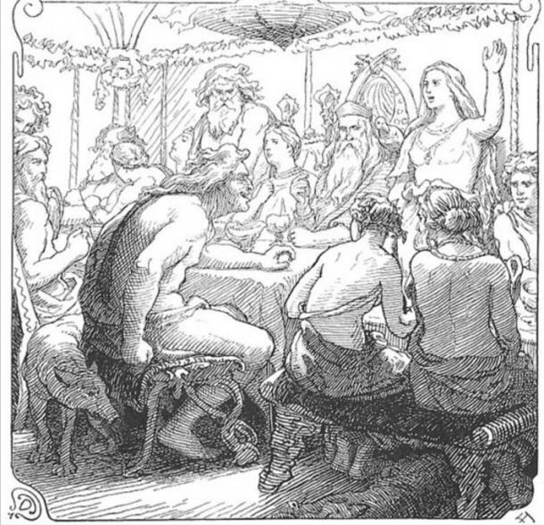 A depiction (1895) of Loki quarreling with the gods, as in the Poetic Edda poem Lokasenna.