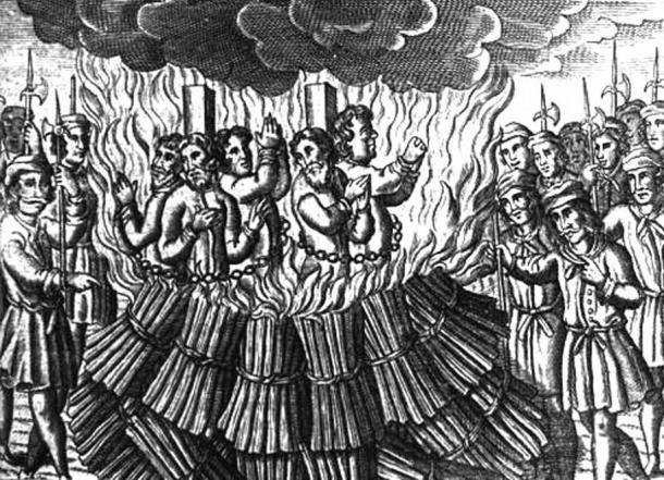 A depiction of the burning of Cathars by the Papal Inquisition in the Languedoc in late 12th to early 13th century