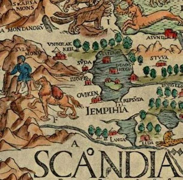 "A detail from Olaus Magnus' Carta Marina (1539). Jämtland is Latinized as ""Iempihia""."