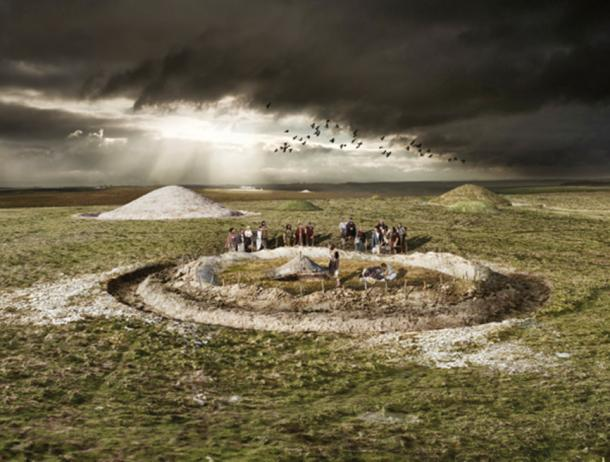 A digital reconstruction of a burial within a round barrow at Normanton Down in Wiltshire, around 1900 BC during the Early Bronze Age. © Historic England