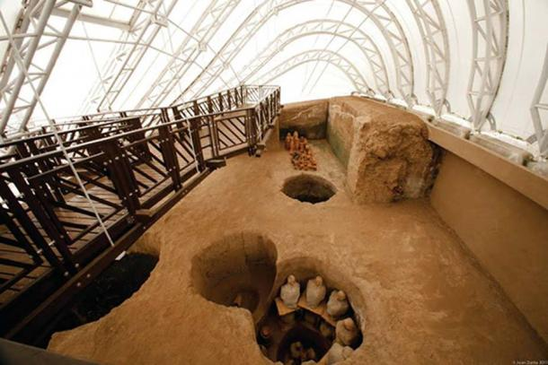 A double-chambered tomb from above at the La Florida museum in Quito, Ecuador.