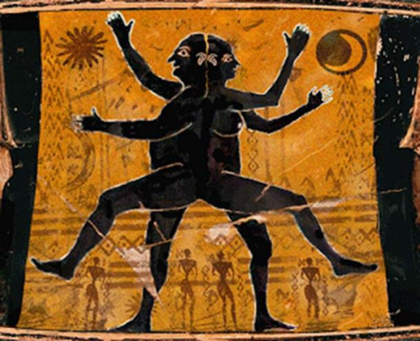 A double-sided person detail on ancient Greek amphora. (La Audacia de Aquiles)
