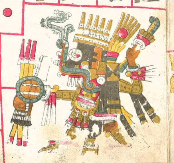 A drawing of Tlaloc, one of the deities described in the Codex Borgia.