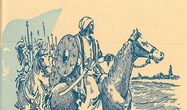 A drawing of Khālid ibn al-Walīd heading the Muslim Army during the battle of Yarmouk. (Public Domain)