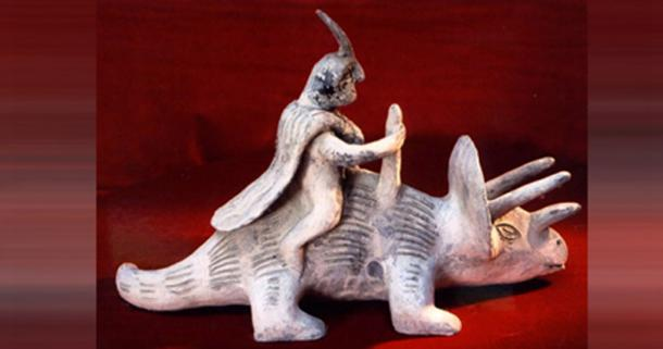 A famous Acámbaro figurine depicting a human apparently riding a dinosaur. (Creative Commons)