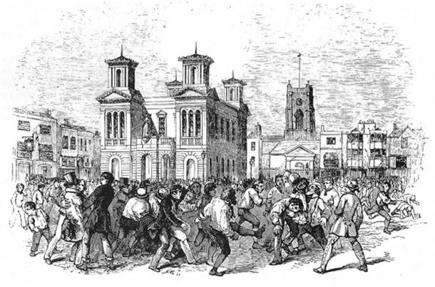A football game between Thames and Townsend clubs, played at Kingston upon Thames, London, 1846. (Public Domain)