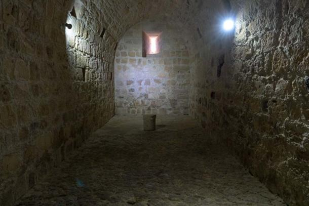 A ground floor room of Kolossi Castle. Its use is not known for sure, but it may have been a storage area.