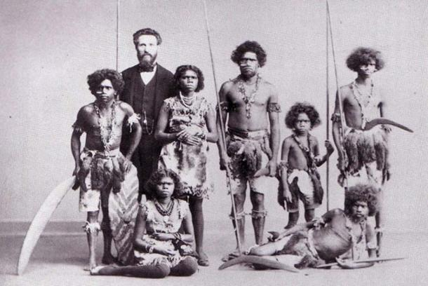 A group of Aboriginals captured in Australia and put on tour throughout Europe and America in the PT Barnum & Bailey circus shows of 'human curiosities', where they were portrayed as fierce savages and cannibals (public domain)
