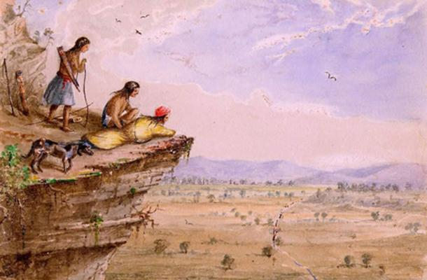 A group of Comanche watch on a caravan travelling through a Trans Pecos valley in West Texas (1850) by Lee Arthur Tracy. (Public Domain)