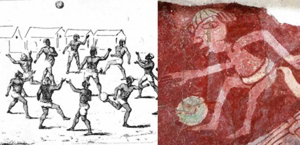 (Left) A group of aborigines playing football in Guiana. (Public Domain); (Right) Paint of a Mesoamerican ballgame player in Teotihuacan. (CC BY 2.0)
