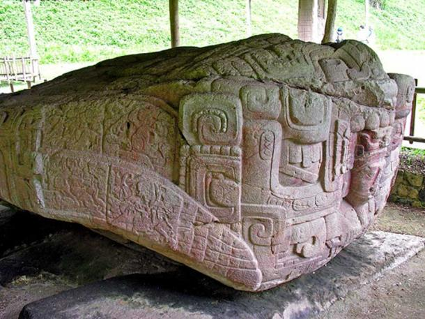 large boulder 4 m (12 feet) long and 2 m (6 feet) high sculpted entirely over its upper surface to represent a grotesque two-headed monster. It represents a Maya cosmological concept embodied in a bicephalic reptilian (crocodilian) monster.