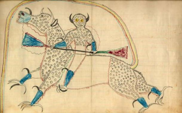 """A ledger drawing by Lakota Sioux Chief Black Hawk, depicting a horned Thunder Being (Haokah) on a horse-like creature with eagle talons and buffalo horns. The creature's tail forms a rainbow that represents the entrance to the Spirit World, and the dots represent hail. Accompanying the picture on the page were the words """"Dream or vision of himself changed to a destroyer and riding a buffalo eagle"""". (Public Domain)"""