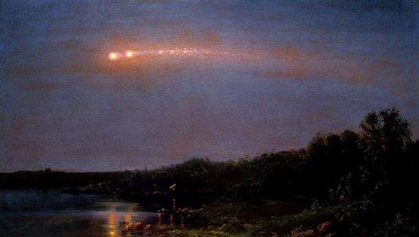 A less threatening meteor in the sky. 'The Meteor of 1860' by Frederic Edwin Church. (Public Domain)