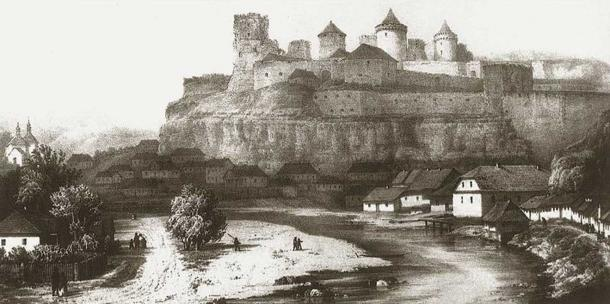 A lithograph depicting the Kamianets-Podilskyi castle walls with a settlement underneath, which still exists today.