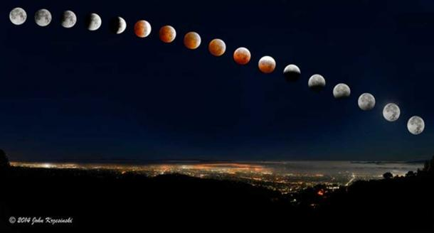 A lunar eclipse over San Francisco Bay in 2014 (note the moons have been enlarged slightly for clarity).