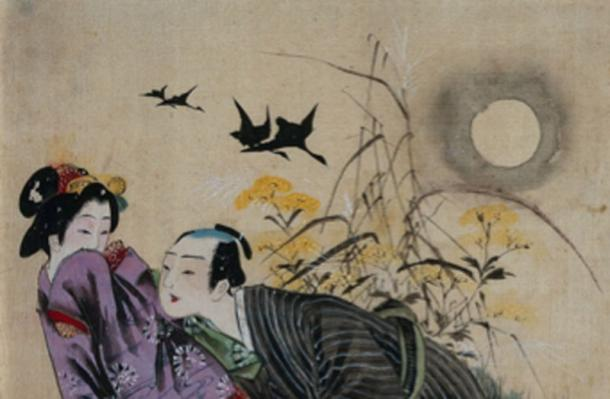 A man seducing a woman beneath an autumn moon. Shun-ga in the style of the Meiji period. (Fæ / Public Domain)