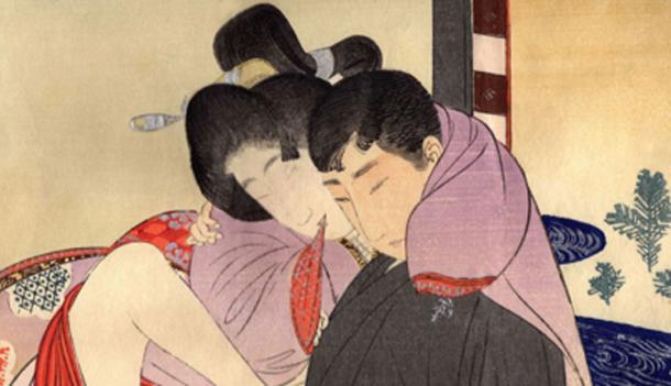A man with a Western-style haircut makes love to a woman in traditional Japanese dress in this Meiji period shun-ga print. (Materialscientist / Public Domain)