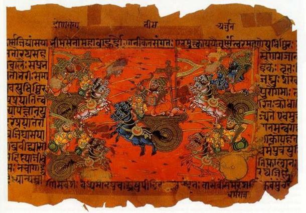 A manuscript illustration (18th c.?) of the Battle of Kurukshetra, fought between the Kauravas and the Pandavas, recorded in the Mahabharata Epic. (Public Domain)
