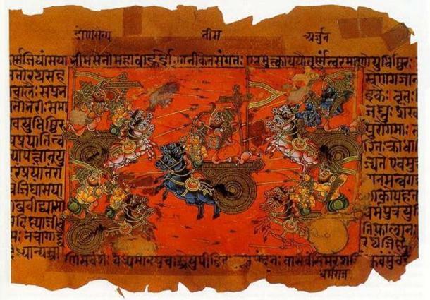 A manuscript illustration (18th c.?) of the Battle of Kurukshetra, fought between the Kauravas and the Pandavas, recorded in the Mahabharata Epic. (Public Domain)