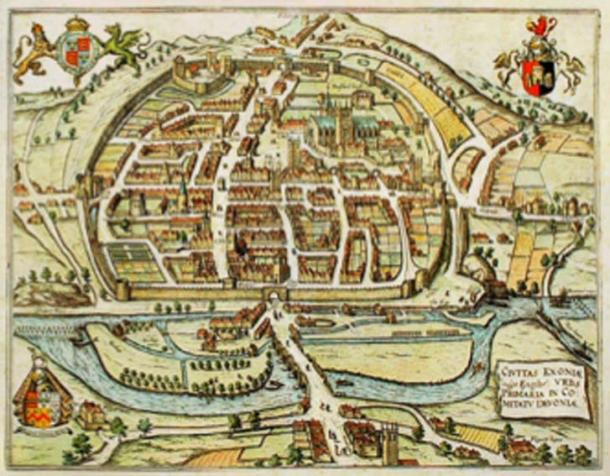 A map of Exeter in 1563 showing the city walls, the settlement of Isca Dumnoniorum was developed around the Roman fortress. (Smalljim / Public Domain)
