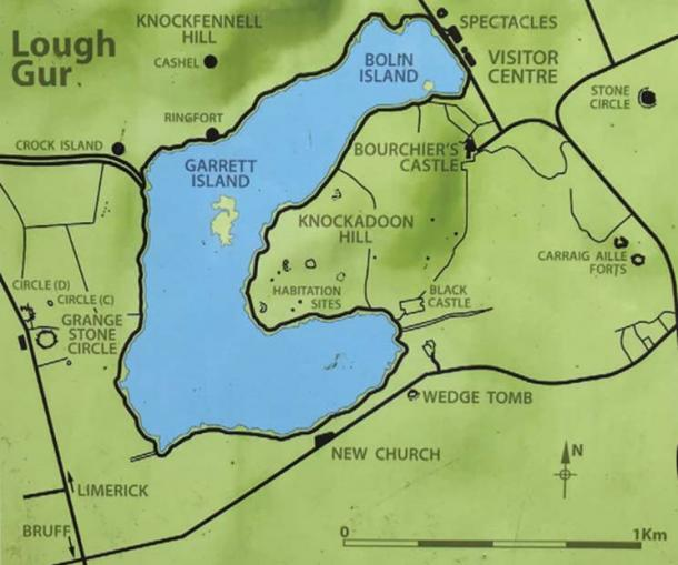 A map of Lough Gur showing just some of the significant historical sites in its surroundings. Grange Stone Circle can be seen to the left of the lake.