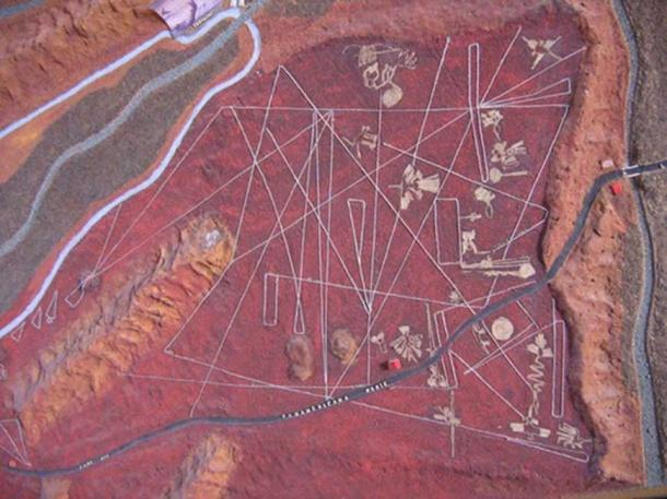 A map of the Nazca lines, showing all the figures, as well as the Panamerican Highway crossing the area. (CC BY NC SA 2.0)