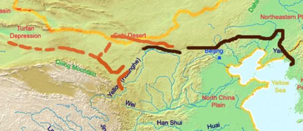 A map of the great wall of china of Han Dynasty. (Ksyrie / CC BY-SA 3.0)