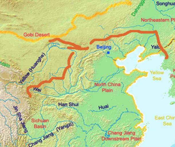 A map of the great wall of china of Qin Dynasty.  (Ksyrie / CC BY-SA 3.0)