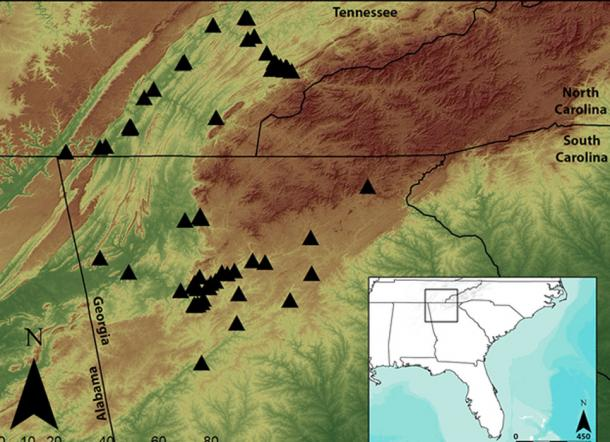A map of the southern Appalachian region, with the archaeological sites used in this study indicated. The sites are spread across both eastern Tennessee and northern Georgia and date to the period between 800 and 1650 AD. (Jacob Lulewicz / Washington University in St. Louis)