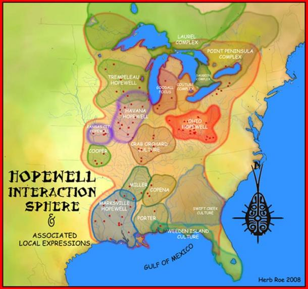 A map showing the Hopewell Interaction Sphere and various local expressions of the Hopewell cultures.